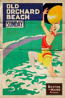 Mixed Media - Old Orchard Beach - Folded by Vintage Advertising Posters