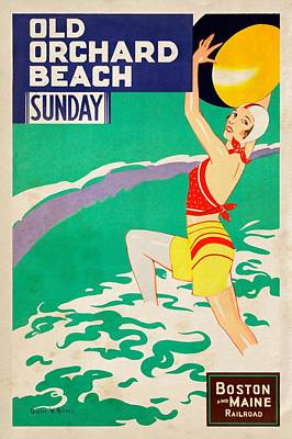 Mixed Media - Old Orchard Beach - Vintagelized by Vintage Advertising Posters