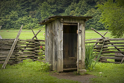 Randall Nyhof Royalty Free Images - Old Outhouse on a Farm in the Smokey Mountains Royalty-Free Image by Randall Nyhof
