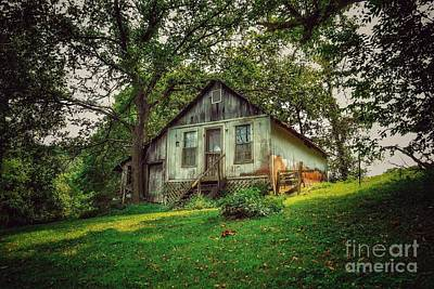 Black And White Horse Photography - Old Ozark House by John Myers