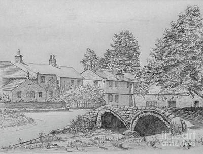 Drawing - Old Packhorse Bridge Wycoller by Anthony Lyon