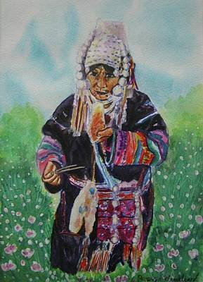 Painting - Old Paduaug Woman Taking Noodles by Wanvisa Klawklean
