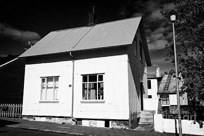 Roofing Tin Photograph - old painted corrguated iron tin clad house reykjavik Iceland by Joe Fox