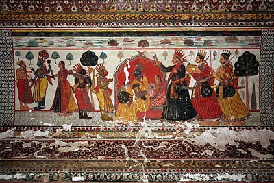 Old Painting In Raj Mahal Palace, Orchha Fort Art Print by Aivar Mikko