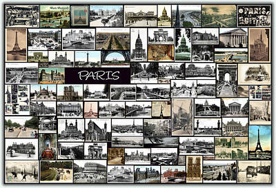 Old Paris Collage Art Print by Janos Kovac