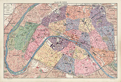 Drawing - Old Paris Map By Fernand Bournon - 1900 by Blue Monocle