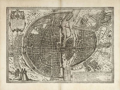 Drawing - Old Paris Map By Georg Braun And Franz Hogenberg - 1575 by Blue Monocle
