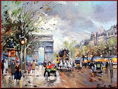 A Summer Evening Landscape Painting - Old Paris by Mauro Portente