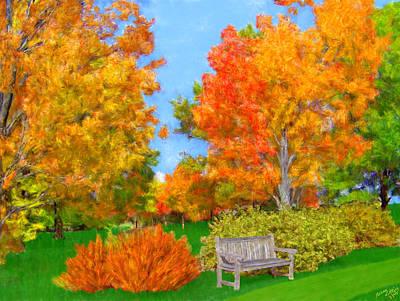 Old Park Bench In Autumn Art Print