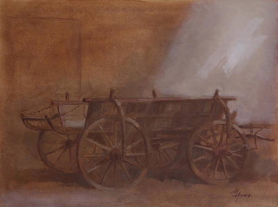 Painting - Old Peasant Cart by Attila Meszlenyi
