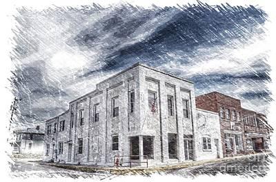 Photograph - Old Peterstown Bank Digital Sketch  by Kerri Farley