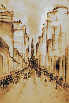 Drawing - Old Philadelphia City Hall 1920 by Peter Potter