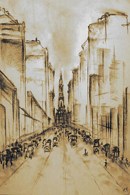 Drawing - Old Philadelphia City Hall 1920 - Vintage Art by Art America Gallery Peter Potter