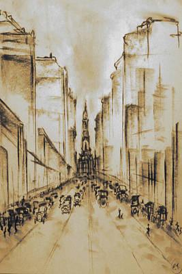 Old Philadelphia City Hall 1920 - Vintage Art Art Print by Art America Gallery Peter Potter