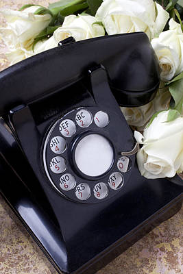 Old Phone And White Roses Art Print by Garry Gay