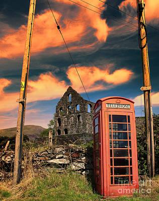 North Wales Digital Art - Old Phone Box In Cwmystradllyn  by Chris Evans