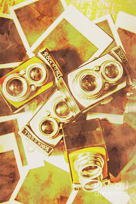 Old Photo Cameras Art Print