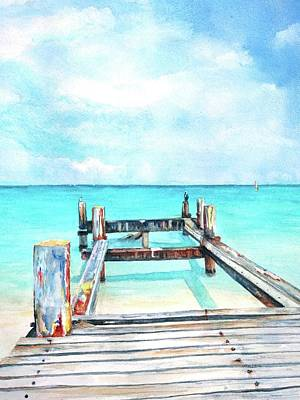 Painting - Old Pier On Grace Bay At Club Med     by CarlinArt Watercolor