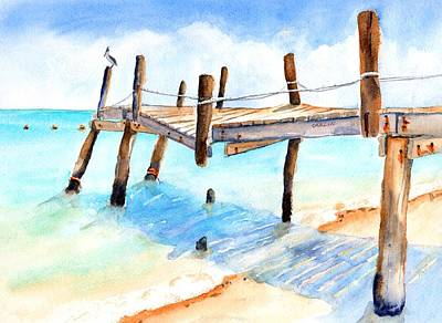 Painting - Old Pier On Playa Paraiso #4 by CarlinArt Watercolor