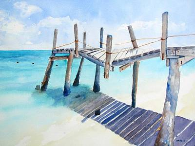 Painting - Old Pier On Playa Paraiso by Carlin Blahnik CarlinArtWatercolor