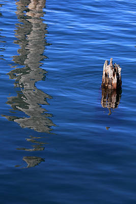 Photograph - Old Piling And Reflection 2 by Mary Bedy