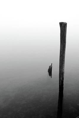 Photograph - Old Piling Reflections 5 Bw by Mary Bedy