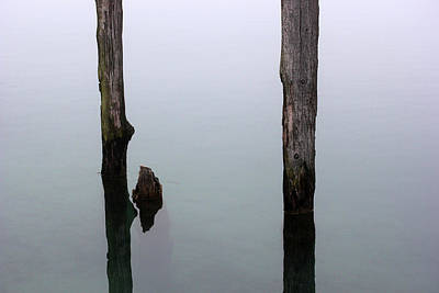 Photograph - Old Pilings In Fog 50 by Mary Bedy