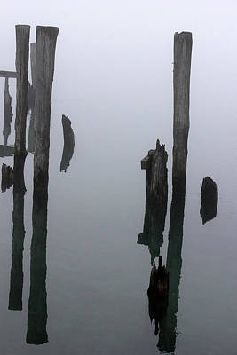 Photograph - Old Pilings In Fog 51 by Mary Bedy