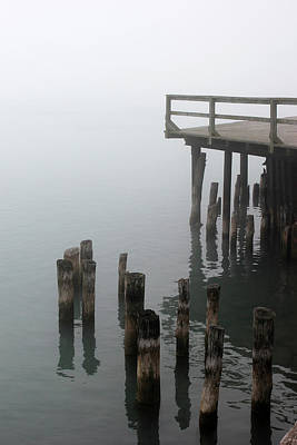Photograph - Old Pilings In Fog 52 by Mary Bedy