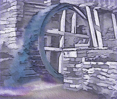 Historical Re-enactments Mixed Media - Old Pioneer Mill - Water Wheel by Steve Ohlsen