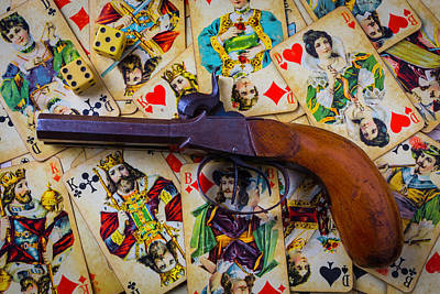 Old Pistol And Cards Print by Garry Gay