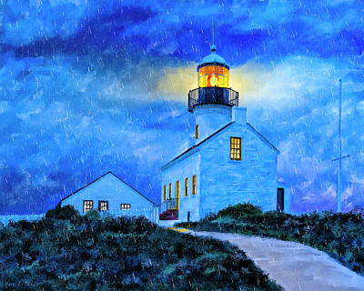 Painting - Historic Point Loma In The Rain by Mark Tisdale