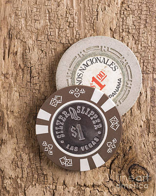 Coins Photograph - Old Poker Chips by Edward Fielding