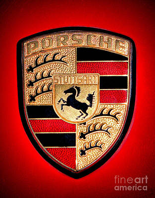 Automobile Hood Photograph - Old Porsche Badge by Olivier Le Queinec