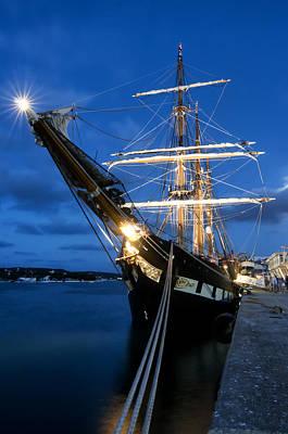 Photograph - Old Port Mahon And Italian Sail Training Vessel Palinuro At Dawn Hdr by Pedro Cardona Llambias