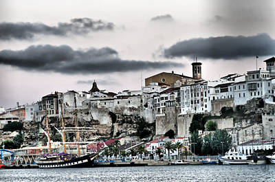 Old Port Mahon And Italian Sail Training Vessel Palinuro Hdr Art Print by Pedro Cardona