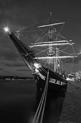 Photograph - Old Port Mahon Black And White Dawn And Italian Sail Training Vessel Palinuro Hdr by Pedro Cardona
