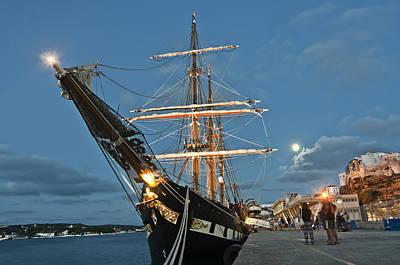 Photograph - Old Port Mahon Dawn And Italian Sail Training Vessel Palinuro Hdr by Pedro Cardona Llambias