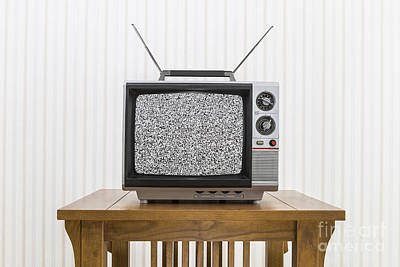 Old Portable Television With Antenna On Wood Table With Static S Art Print