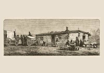 Drawing Of A Horse Drawing - Old Post Station On The Prairie In by Vintage Design Pics