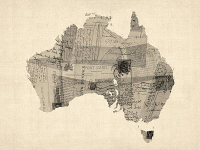 Postcards Digital Art - Old Postcard Map Of Australia Map by Michael Tompsett