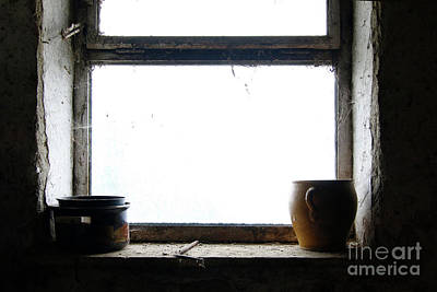 Old Crocks Photograph - Old Pots And Stoneware Jar On Window by Michal Boubin