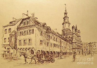 Drawing - Old Poznan Drawing by Maja Sokolowska