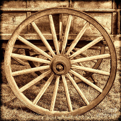 Photograph - Old Prairie Schooner Wheel by American West Legend By Olivier Le Queinec