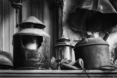 Photograph - Old Rail Treasures In Bw by James Barber
