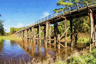 Digital Art - Old Railway Bridge, Curdies River, Victoria, Australia by Howard Ferrier