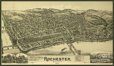 Typography Tees - Old Rare Antique Map of Rochester New York by Pd