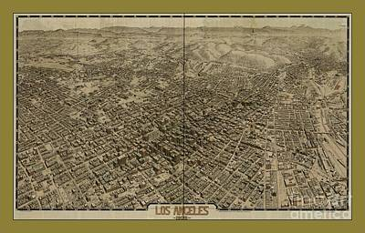 Old Rare Los Angeles Map Art Print by Pd