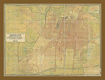 Old Rare Vintage Map Of Mexico City Art Print by Pd