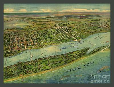 Old Rare Vintage Map Of Palm Beach Florida Art Print by Pd